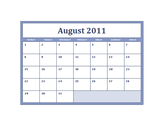 Download 2011-2012 Academic Calendar (mon-sun) for Microsoft Excel 2010