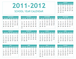 Download 2011-2012 School Calendar (mon-sun) for Microsoft Excel 2010