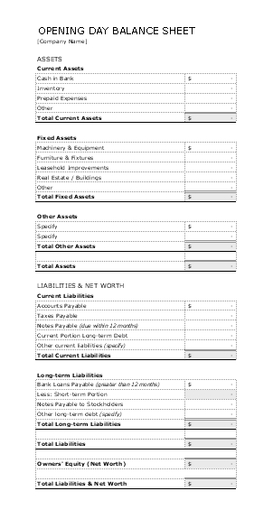 26 printable opening day balance sheet template forms fillable.