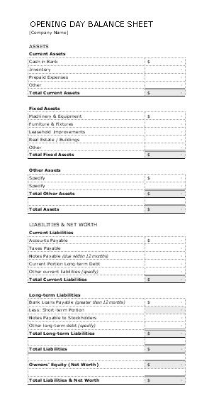 Download Opening day balance sheet