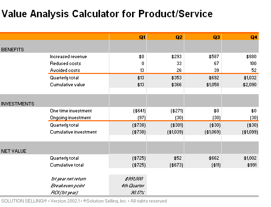 Download Value analysis calculator for product/service