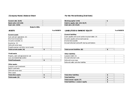 Free Download Balance sheet with financial ratios