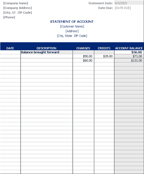 Download Statement of account – Statement of Account Template