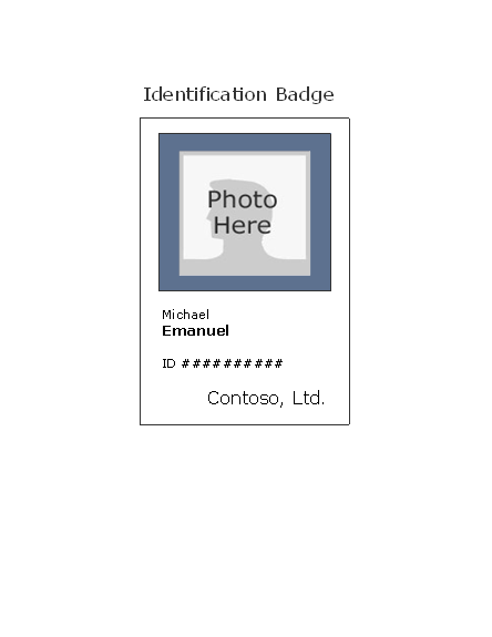 identification badges template - download employee id badge portrait