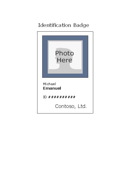 Free Download Employee ID badge (portrait)