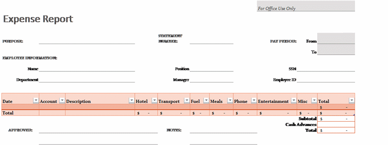 Free Download Expense report