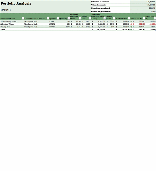 excel dashboard portfolio analysis templates