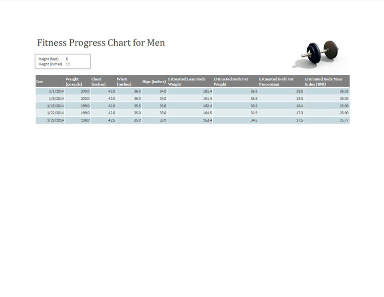 Free Download Fitness chart for men