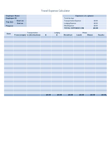 Free Download Business travel expense log