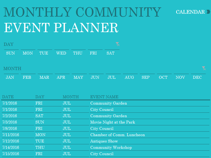 excel dashboard community event planner excel template templates
