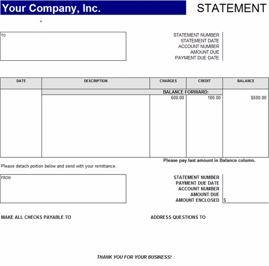 Download statement of account for Credit card statement template excel