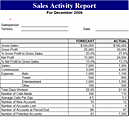 monthly sales report template actual