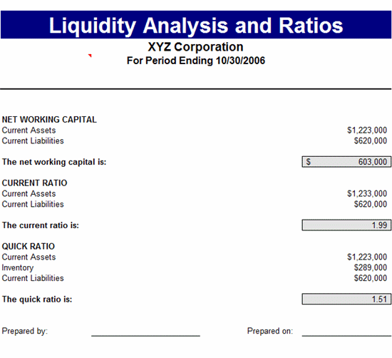 download liquidity analysis  u0026 ratios