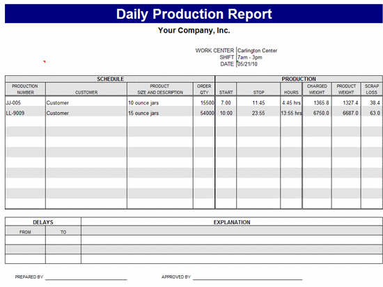 Free Download Daily production report