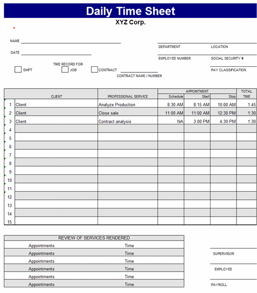 Free Download Daily time sheet
