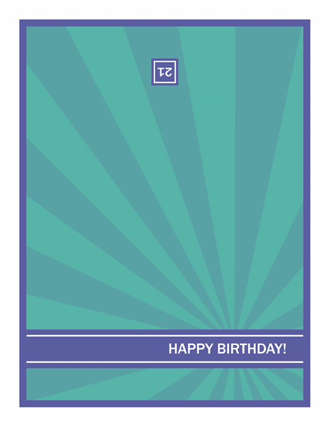 Milestone Birthday Card Blue Rays On Green Background For Powerpoint 2013 Other Diagrams
