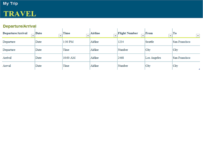 Download Trip Planner Template With Flight And Destination Details for Microsoft Excel 2013 or newer