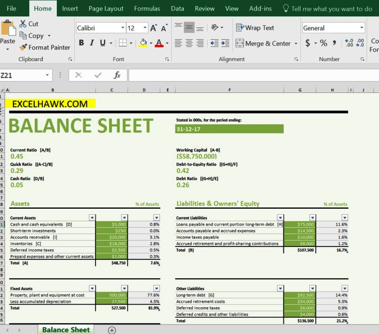 Free Download Balance Sheet with Formulas in Excel Template