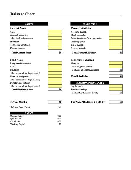 Balance Sheet With Ratios