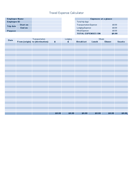 Business Travel Expense Log