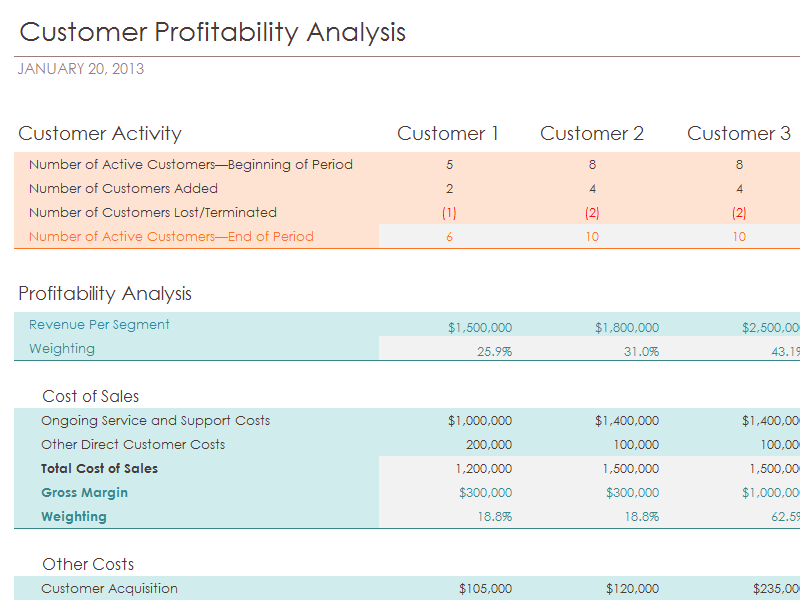 Customer Profitability Analysis With Summary Metrics Chart