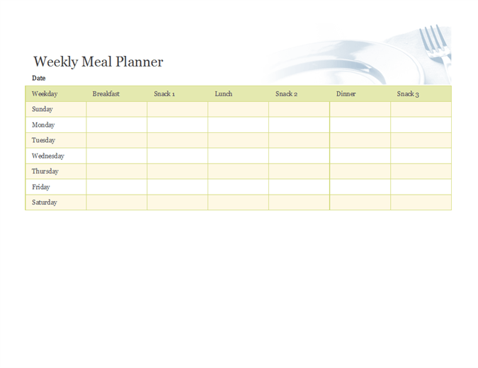 Cute Weekly Meal Planner Template With Breakfast Lunch Dinner And Snack