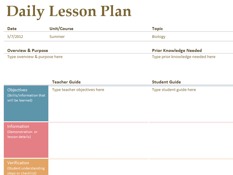 Download Daily Lesson Planner Template Book Format for Microsoft Excel 2013 or newer