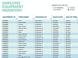 Employee Equipment Excel Inventory Management Template