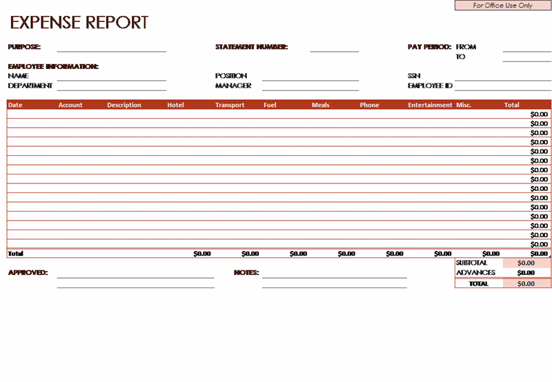 Download Employee Expense Report Template for Microsoft Excel 2013 or newer