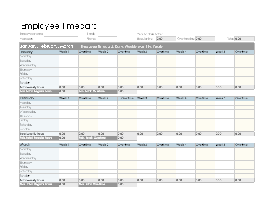 Download Employee Timecard (daily, Weekly, Monthly, And Yearly) for Microsoft Excel 2003 or newer