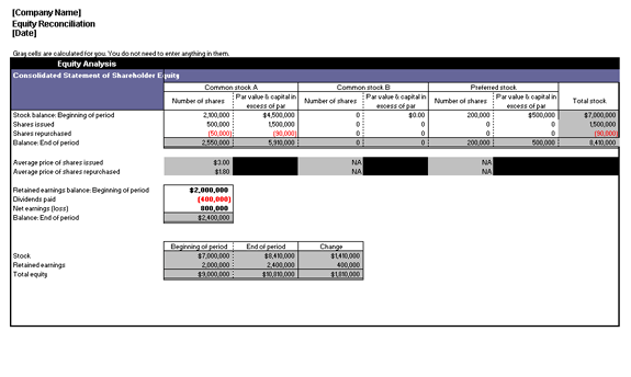equity reconciliation report template