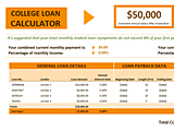 Download Excel College Loan Calculator for Microsoft Excel 2013 or newer