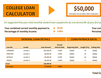 Excel College Loan Calculator