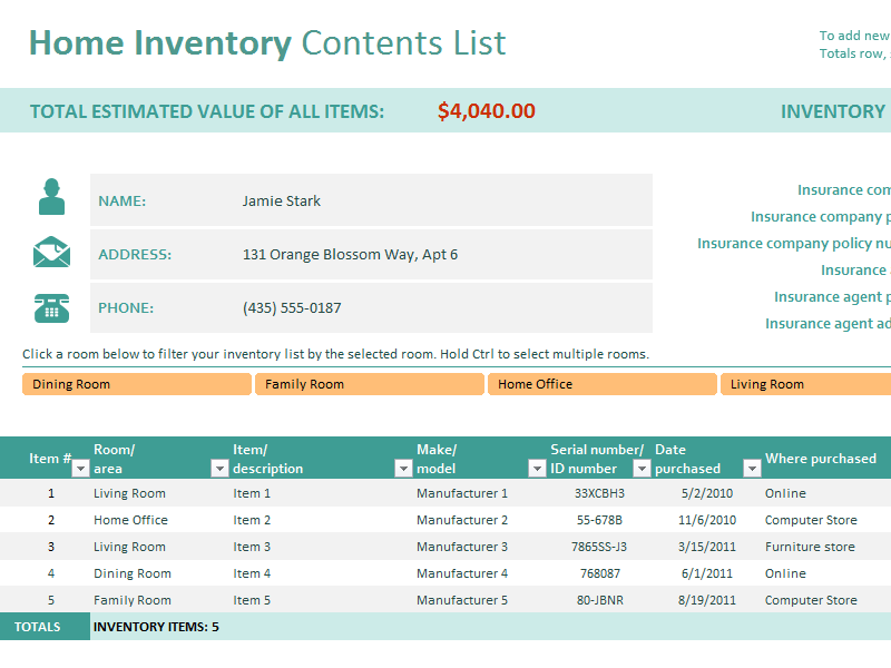 Excel Home Inventory Template