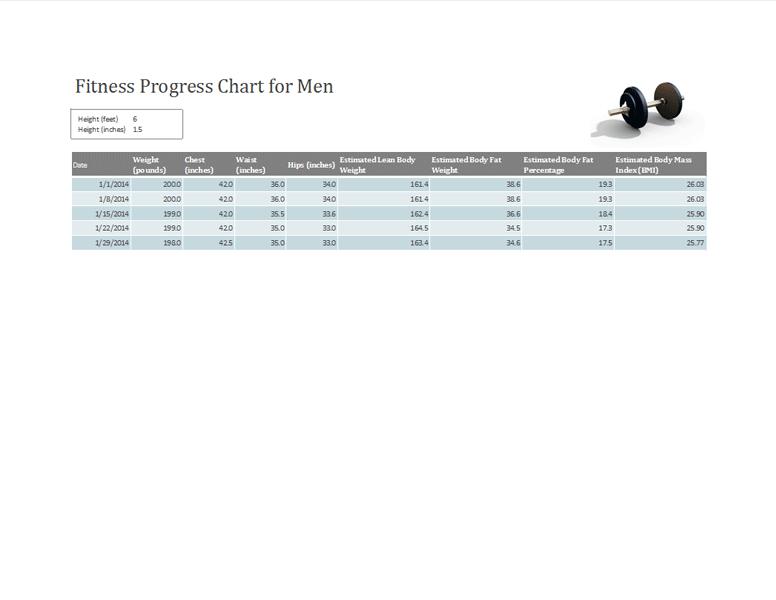 Fitness Chart For Men