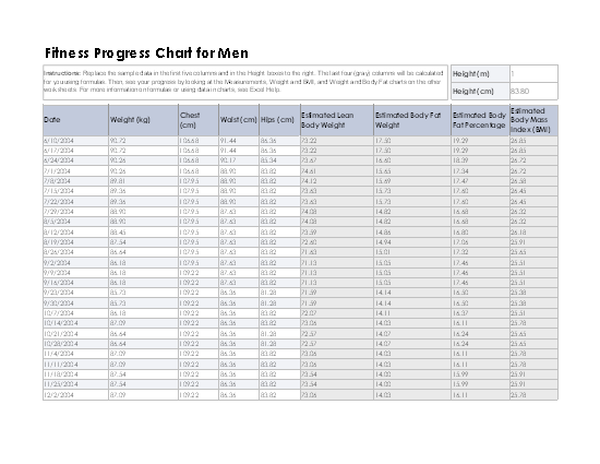 Download Fitness Progress Chart For Men (metric) for Microsoft Excel 2003 or newer