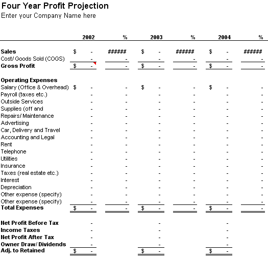 Download Four-year Profit Projection for Microsoft Excel 2003 or newer
