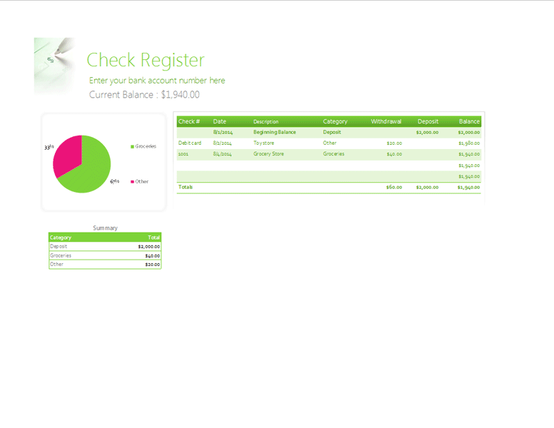 Gantt Chart Template Check Register