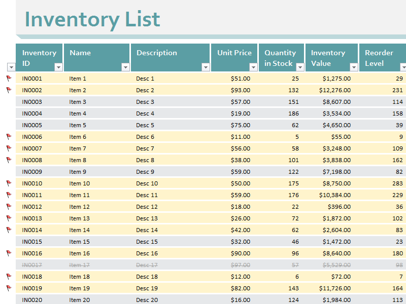 Inventory Value Stock Excel Spreadsheet Sample