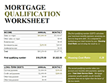 Download Mortgage Qualification Credit Score Criteria Worksheet Calculator for Microsoft Excel 2013 or newer