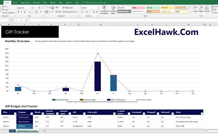 Download Multipurpose Gift Registry Tracker With Budget Details for Microsoft Excel 2016