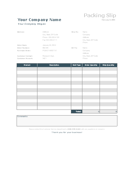 Download Packing Slip for Microsoft Excel 2003 or newer