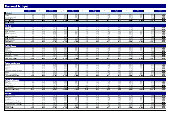 Download Personal Budget Worksheet for Microsoft Excel 2003 or newer