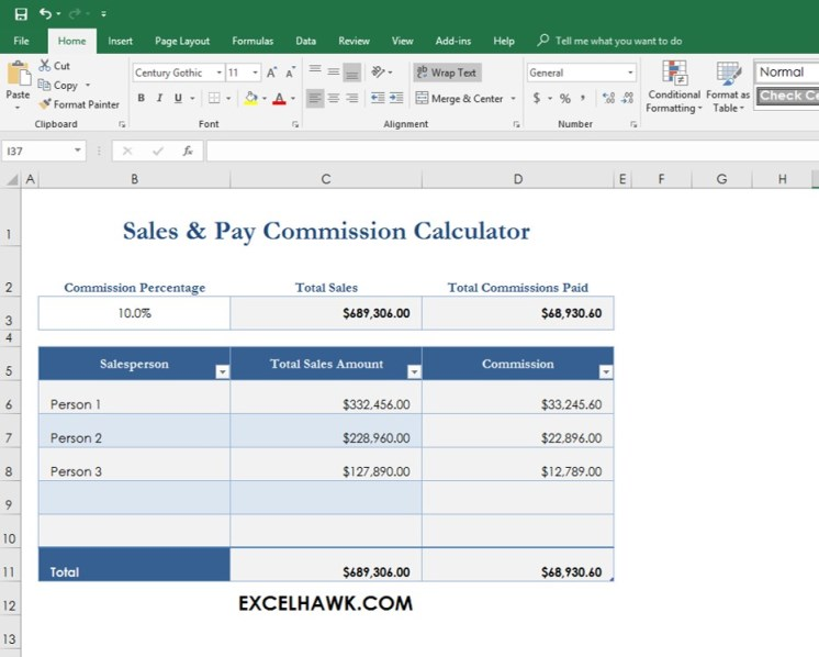 Download Sales Commission Pay Calculator Spreadsheet for Microsoft Excel 2016