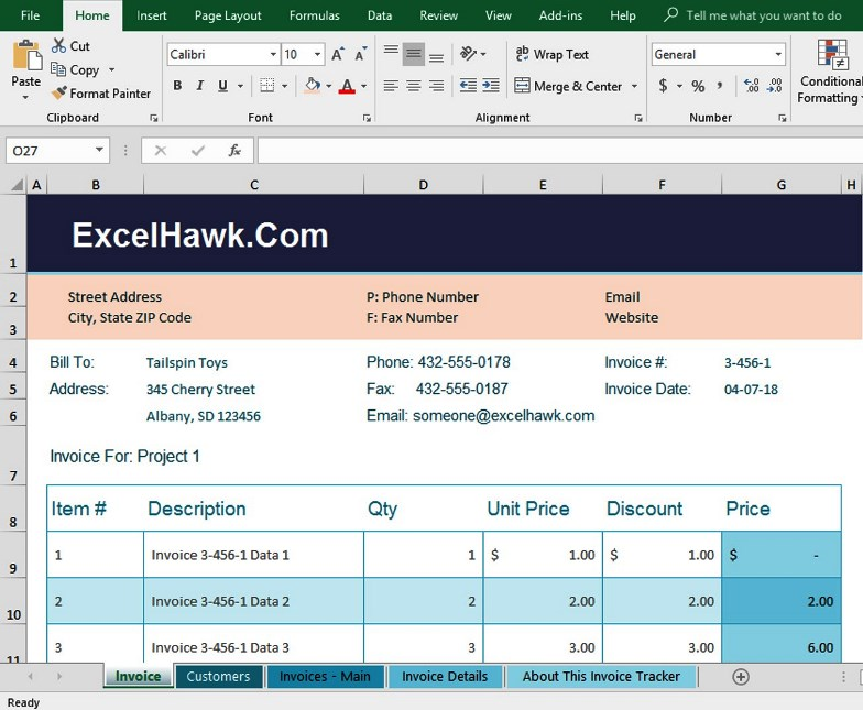 Download Small Business Invoice Software In Excel for Microsoft Excel 2016