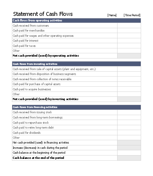 Download Statement Of Cash Flows Related Excel Templates for – Statement of Cash Flows Template