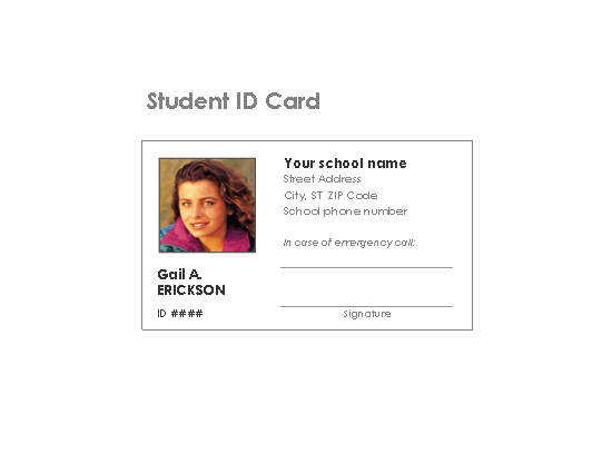 Download Student Identification Card for Microsoft Excel 2003 or newer