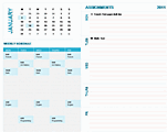 Download Student Weekly Planning Calendar (any Year, Mon-sun) for Microsoft Excel 2010