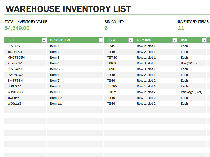 Download Warehouse Inventory Excel Spreadsheet Sample for Microsoft Excel 2013 or newer