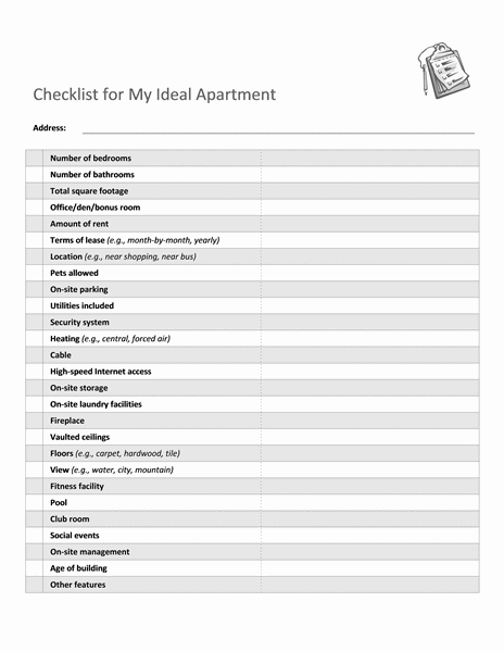 Download Checklist Templates for Selecting Ideal Apartment